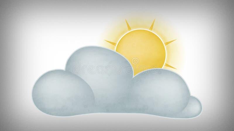 Sun detrás de las nubes ilustración del vector