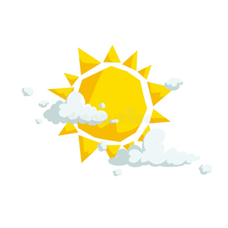 Sun with different clouds. Weather and summer, beach and travel cartoon icons. Vector illustration isolated on white background royalty free illustration