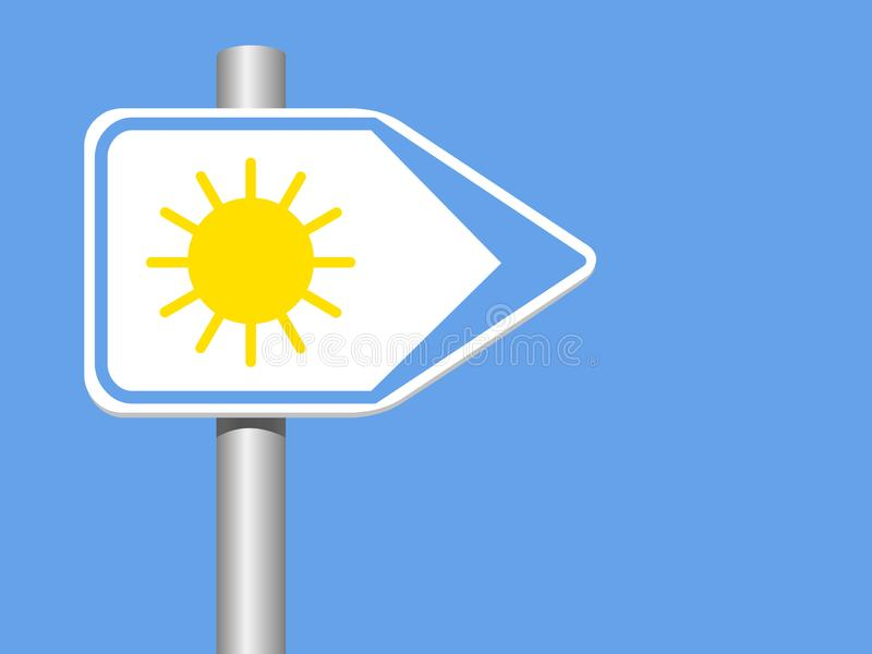 Sun Direction sign with pool on a blue background royalty free illustration