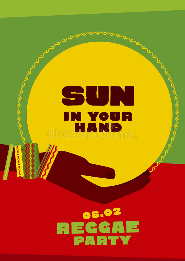 Sun disk and tribal human hand with bracelets. royalty free illustration
