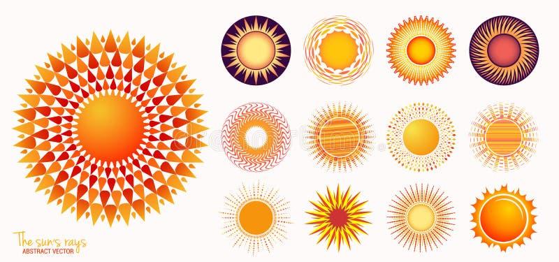 Sun do grupo do vetor Grupo amarelo do ?cone do sol isolado no fundo branco Luz solar lisa moderna da ilustração, raios do sol, s ilustração stock