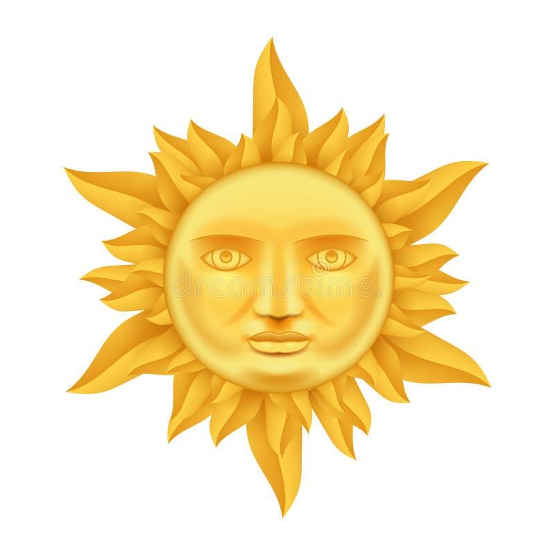 Sun dourado enfrenta a coroa antiga da zombaria realística do fundo do molde do ícone das chamas do vetor ascendente do projeto 3 ilustração stock