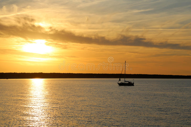 Sun Down At The Baltic Sea Royalty Free Stock Photos