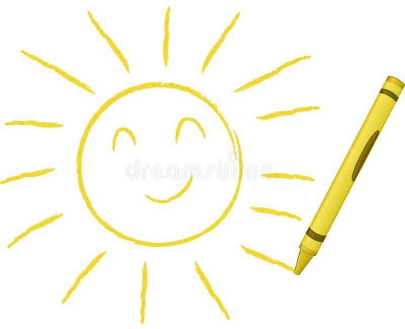 Sun drenado creyón - ilustración del vector stock de ilustración