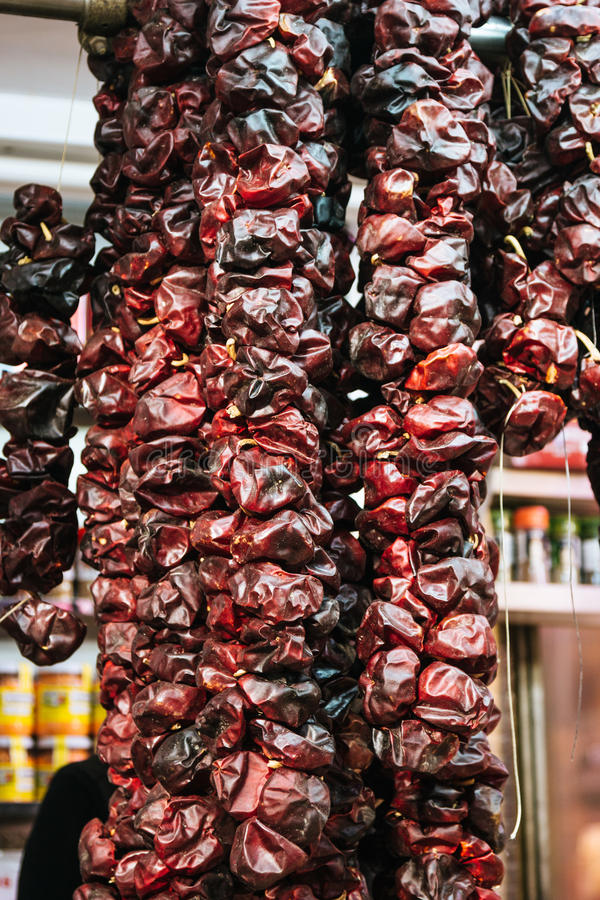 Download Sun Dried Peppers At The Market Stock Photo - Image: 83723466