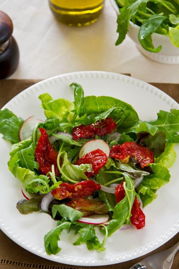 Sun-dried tomato with arugula salad. Fresh Sun-dried tomato with arugula and radish salad stock image