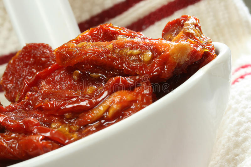 Sun Dried Tomatoes in Olive Oil stock image