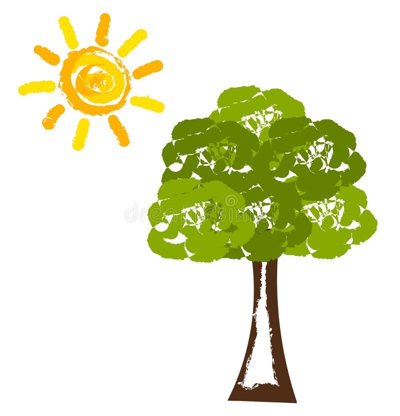Sun e árvore ilustração royalty free