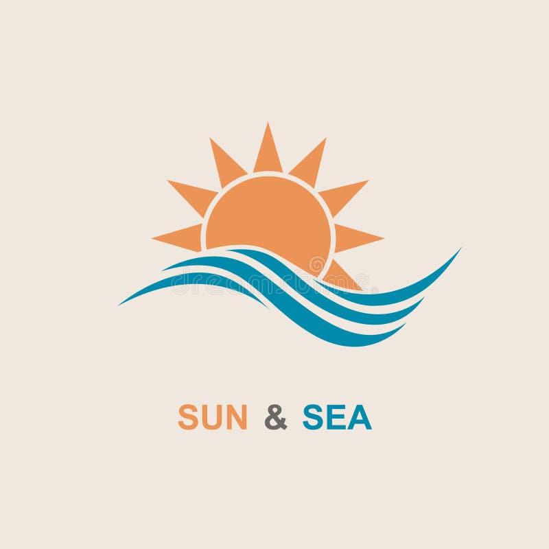 Sun e ícone do mar ilustração stock