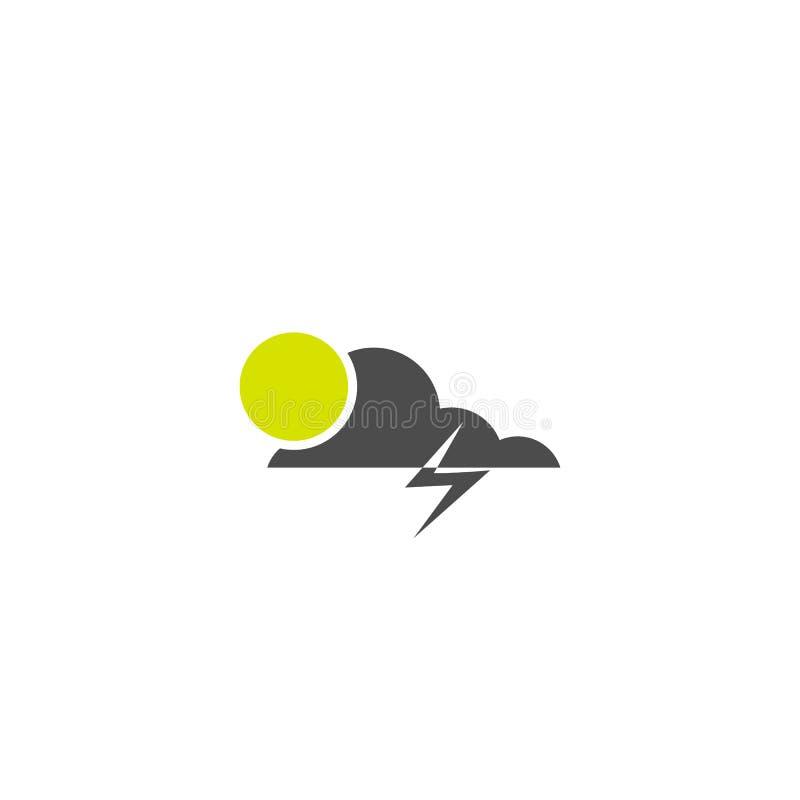 Sun e ícone do tempo do relâmpago da nuvem isolado no fundo branco S?mbolo do vetor ilustração do vetor