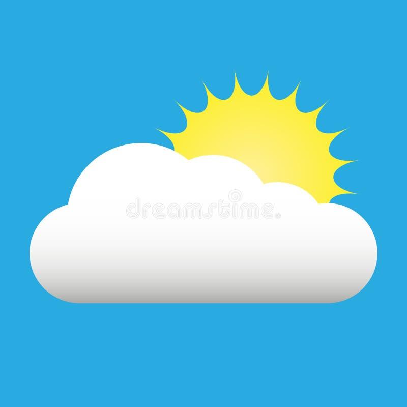 Sun e ícone liso da nuvem isolado no fundo azul Sun e símbolo do sinal da nuvem no estilo liso Elemento da previsão de tempo ilustração stock