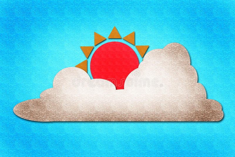 Sun e aguarela da nuvem no papel ilustração do vetor