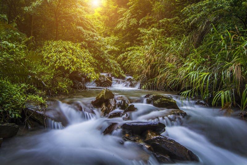 Sun e cachoeira foto de stock royalty free