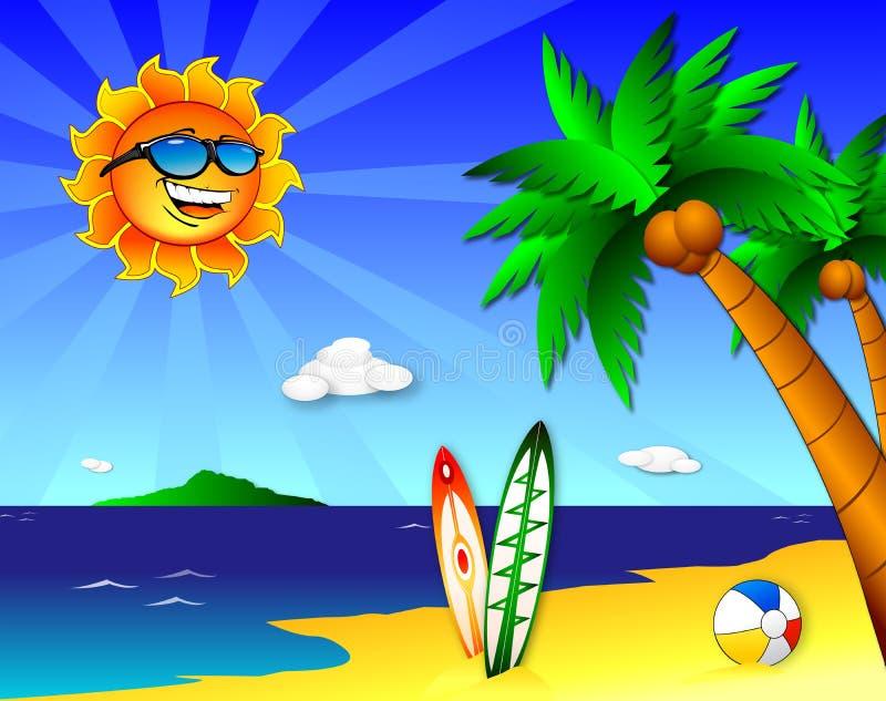 Sun e divertimento na praia ilustração stock