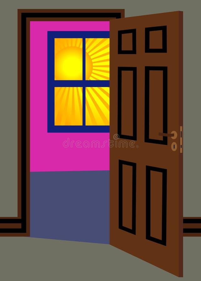 Sun e finestra illustrazione di stock