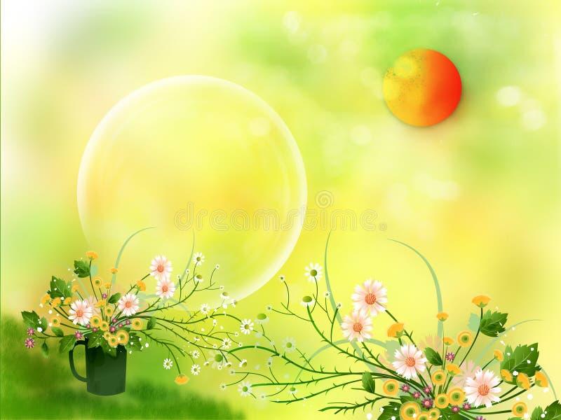 Sun e flores ilustração royalty free