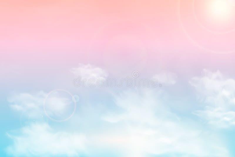 Sun e fundo das nuvens com uma cor pastel macia Fundo pastel do céu ensolarado mágico da fantasia com nebuloso colorido ilustração royalty free
