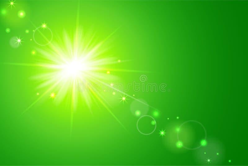 Sun e fundo do verde do alargamento da lente ilustração do vetor