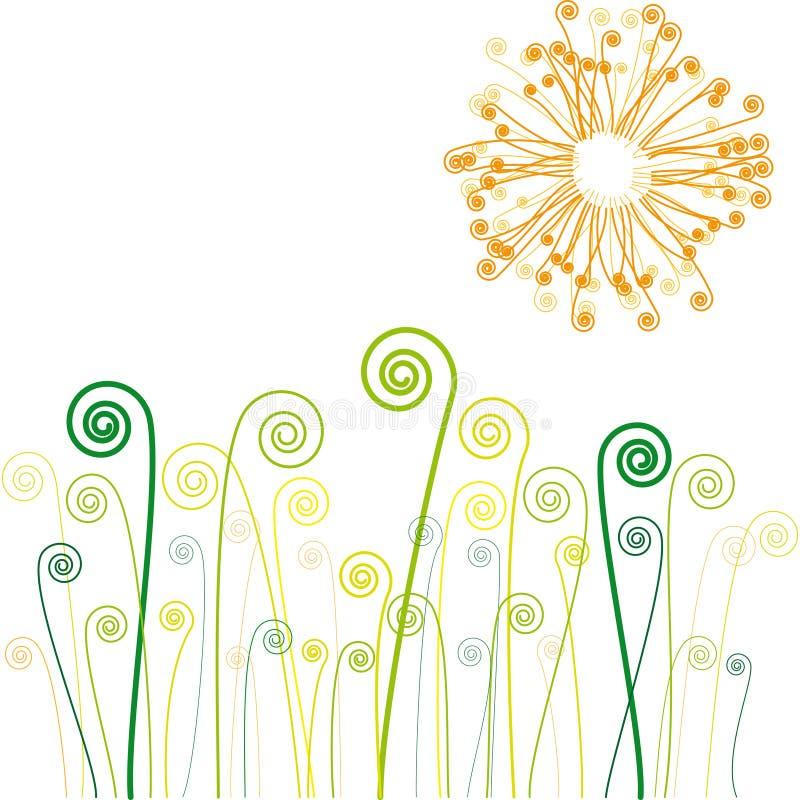 Sun e grama com redemoinhos ilustração stock