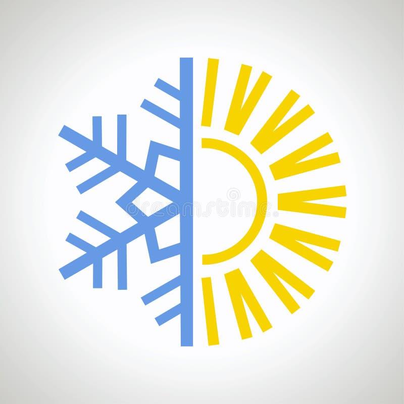 Sun e icono del copo de nieve libre illustration