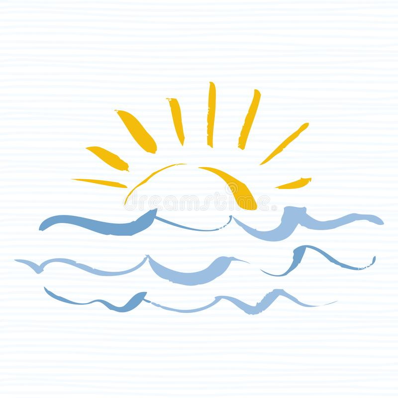 Sun e icono del logotipo del mar Icono hecho a mano del grunge aislado en el fondo blanco Salida del sol sobre el mar Vector Edit libre illustration