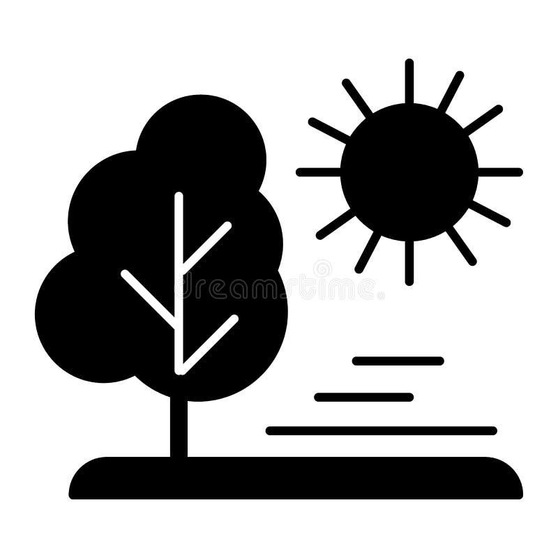Sun e icono del sólido del árbol Ejemplo del vector de la naturaleza aislado en blanco Diseño del estilo del glyph de la planta,  ilustración del vector