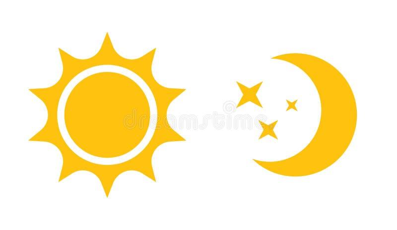 Sun e icono plano de la luna Vector el logotipo para el diseño web, el móvil y el infographics ilustración del vector