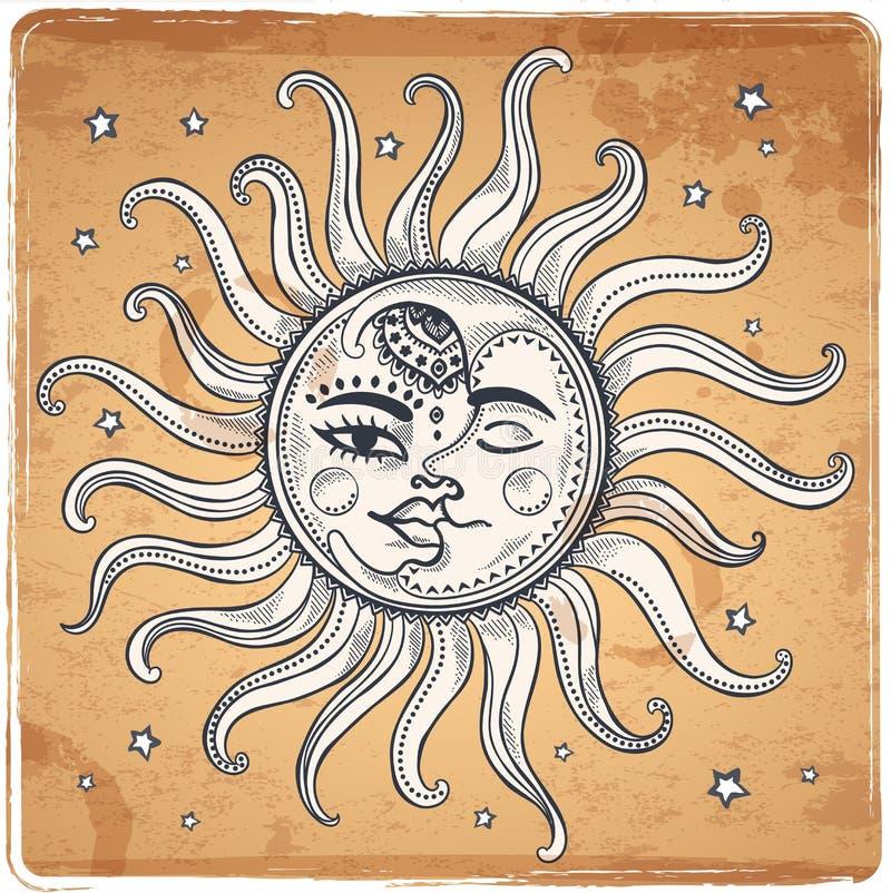 Sun e ilustração do vintage da lua ilustração do vetor