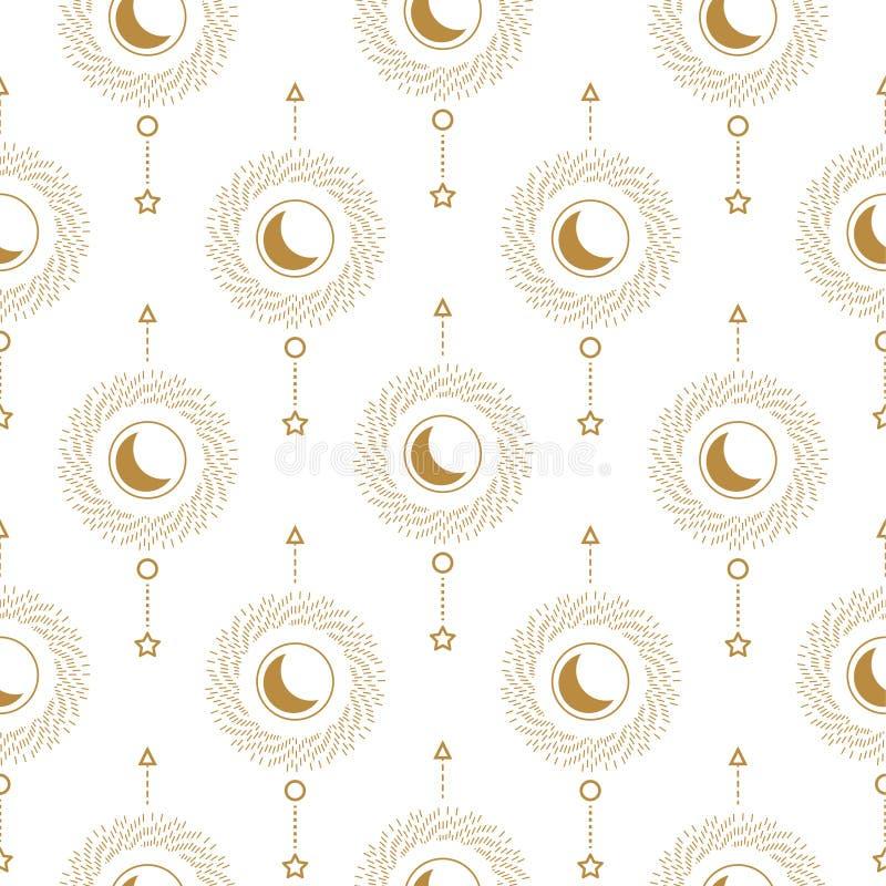 Sun e linha lisa abstrata crescente arte sem emenda geométrica do teste padrão do estilo Textura do tema da astrologia ilustração do vetor