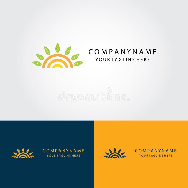 Sun e logotipo abstrato da folha ilustração royalty free