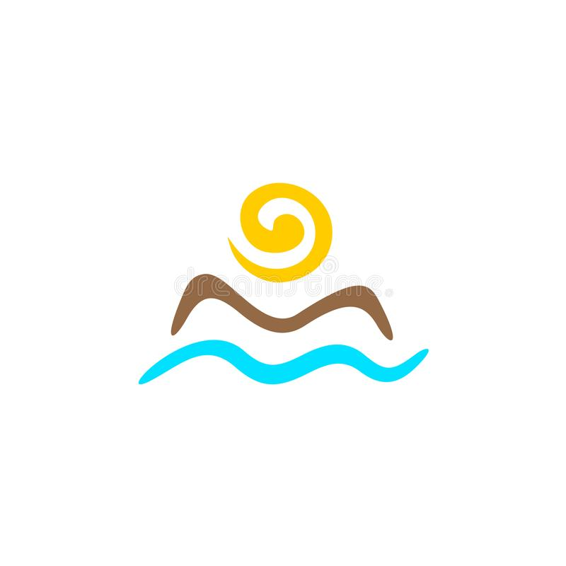 Sun e logotipo do mar ilustração stock