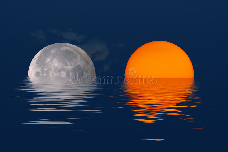Sun e lua imagem de stock