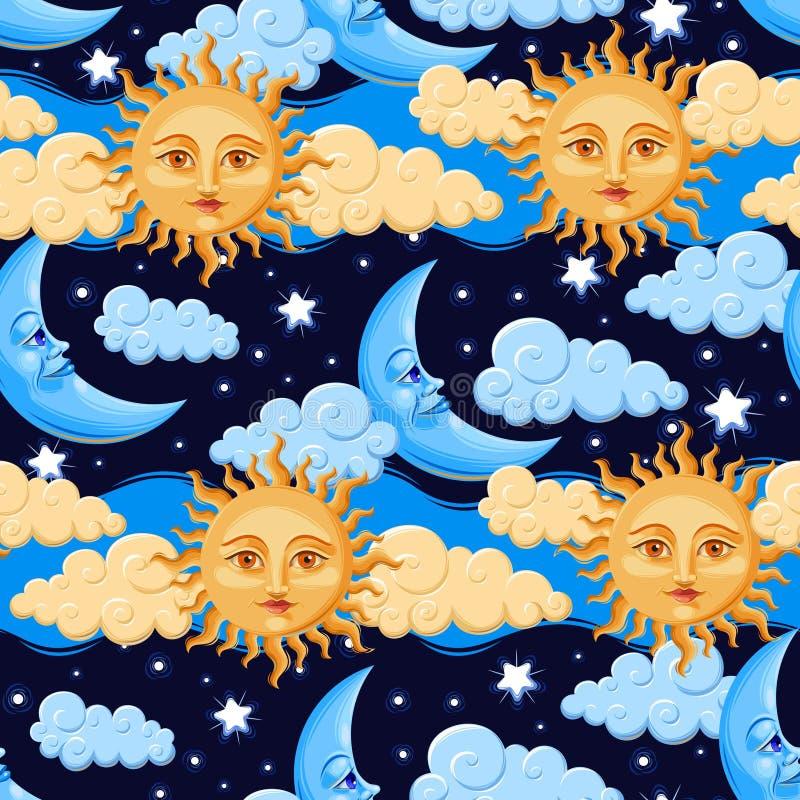 Sun e lua ilustração stock