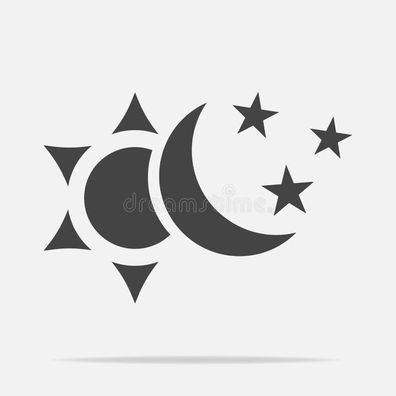 Sun e lua com ícone do vetor das estrelas O símbolo da mudança de ilustração royalty free