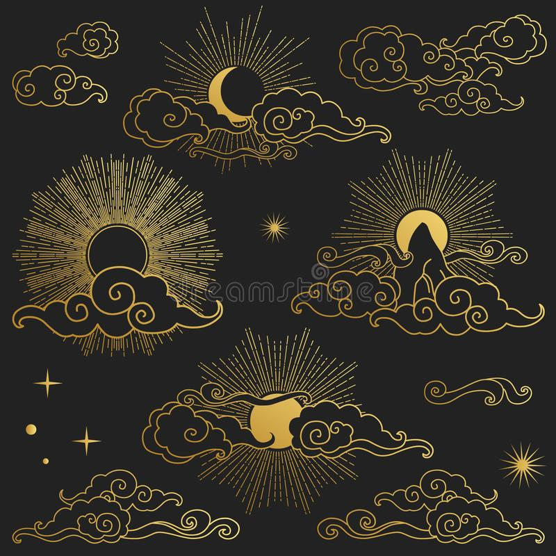 Sun e lua no céu Coleção de elementos decorativos do projeto gráfico no estilo oriental Ilustração desenhada mão do vetor ilustração do vetor