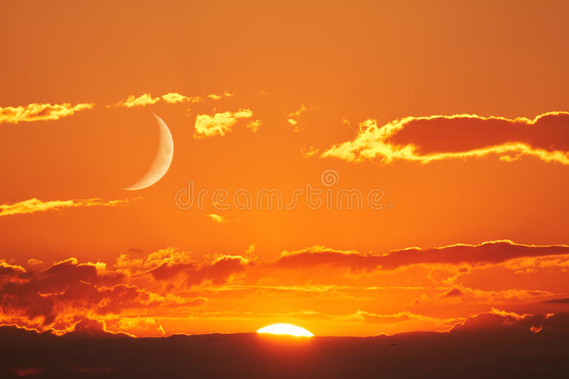 Sun e luna fotografia stock