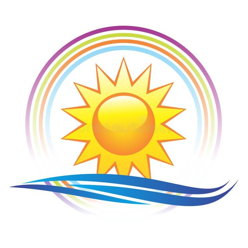 Sun e marchio delle onde illustrazione di stock