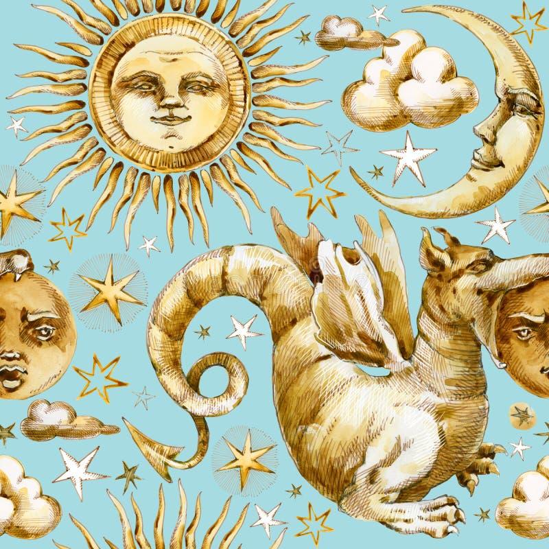 Sun e modello senza cuciture della luna insieme dei simboli celesti, sole, luna, stella, drago, eclissi dell'illustrazione dell'a illustrazione vettoriale