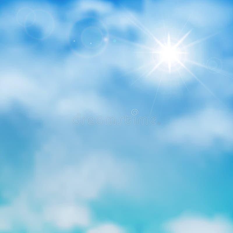Sun e nubi su un cielo blu illustrazione di stock
