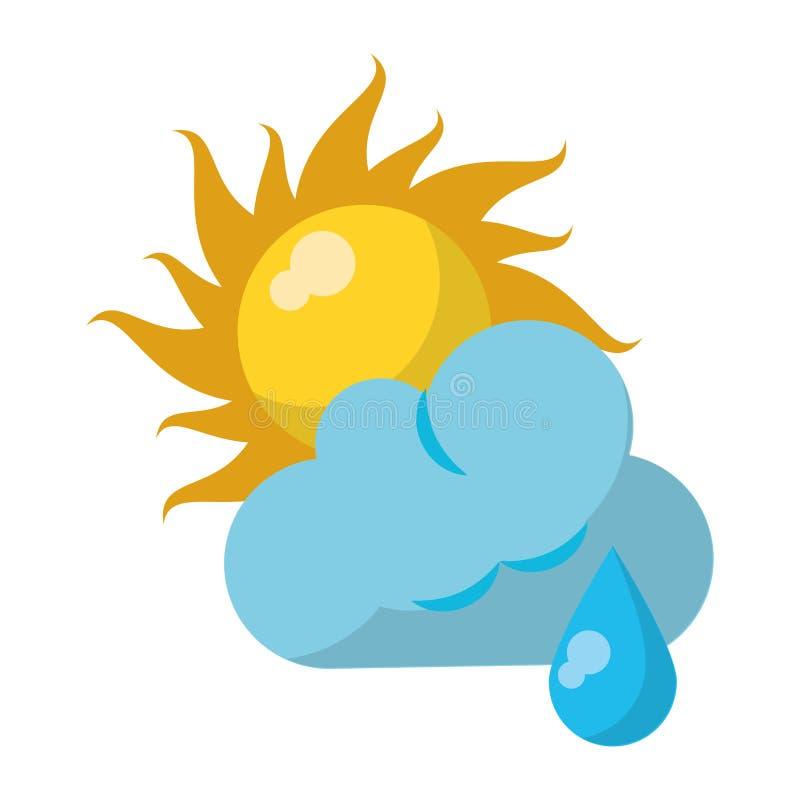 Sun e nuvem com chover o símbolo de tempo ilustração royalty free