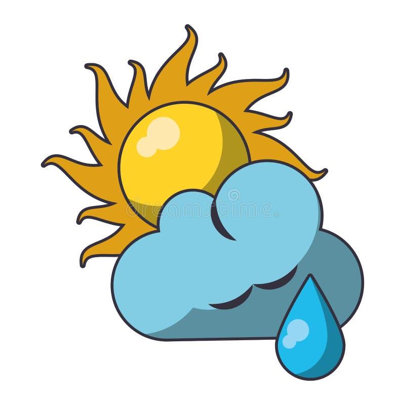 Sun e nuvem com chover o s?mbolo de tempo ilustração do vetor
