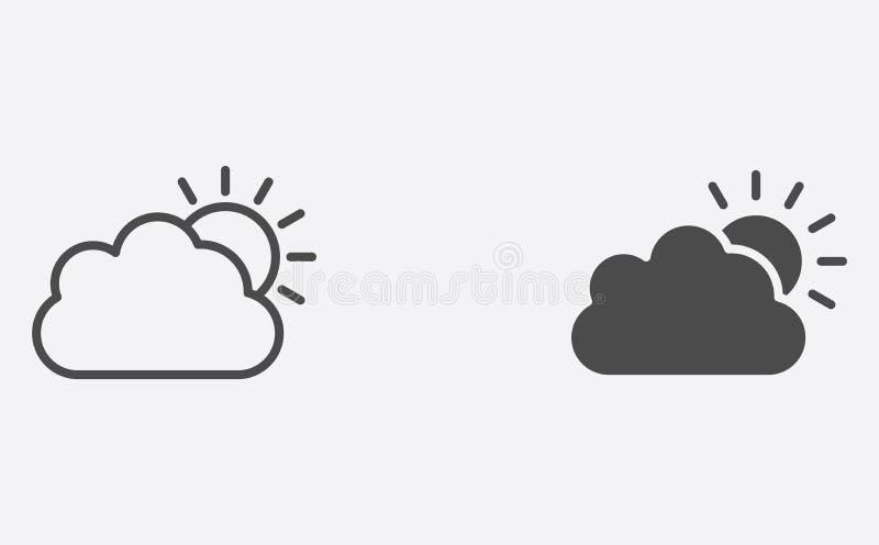 Sun e a nuvem encheram-se e o símbolo do sinal do ícone do vetor do esboço ilustração do vetor