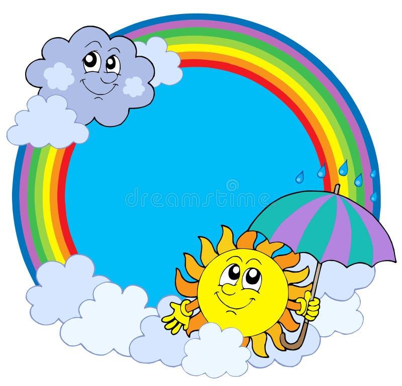 Sun e nuvens no círculo do arco-íris