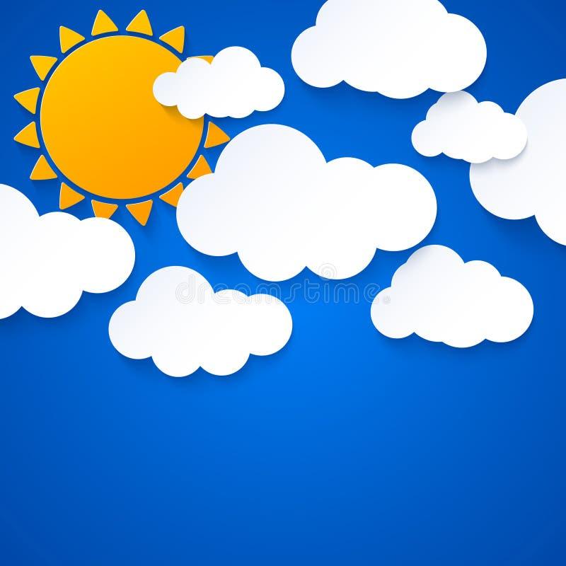 Sun e nuvens no fundo do céu azul