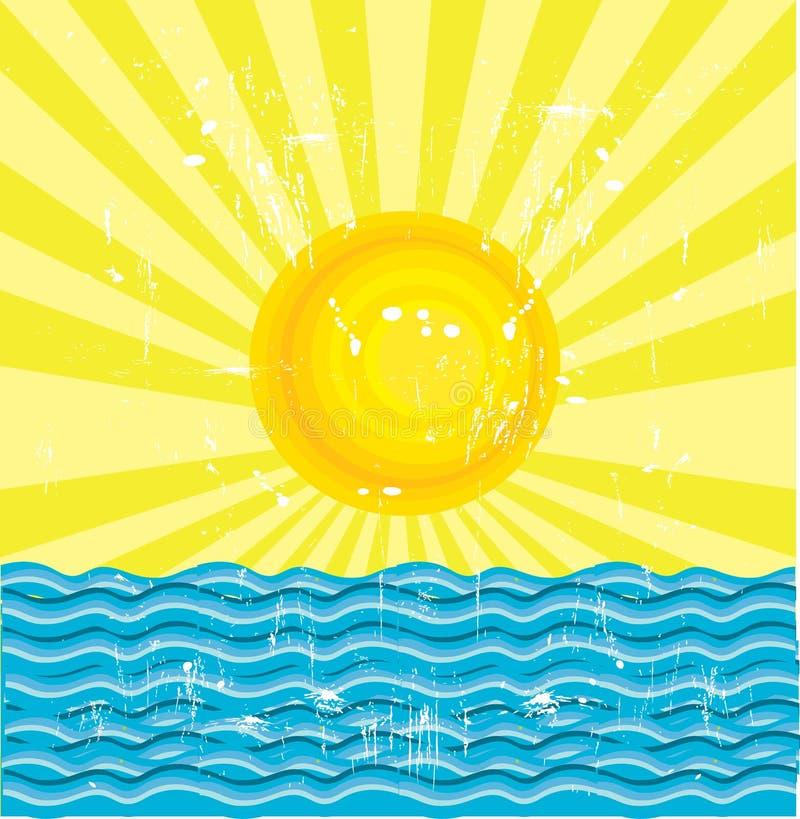 The Sun e o mar ilustração royalty free