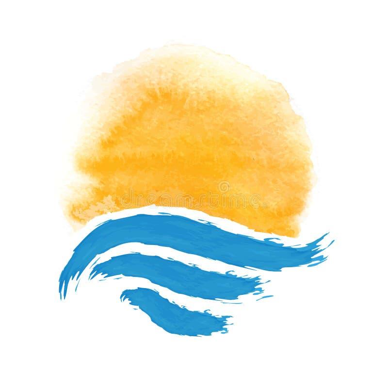Sun e o mar Ilustração do ícone do vetor ilustração royalty free