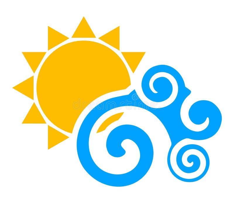 Sun e onda ilustração royalty free