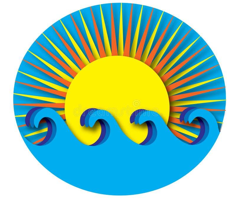 Sun e ondas ilustração royalty free
