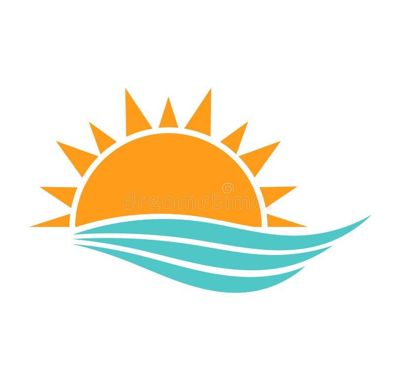 Sun e ondas do mar ilustração royalty free