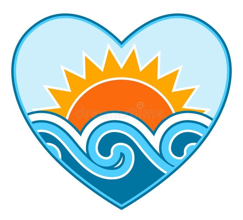 Sun e ondas no coração ilustração stock